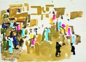 Улица в Эдфу II. 1988 Бумага, гуашь. 56х76_1
