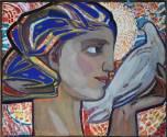 Девушка с голубем. 1960-е гг. Бумага, темпера_1