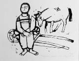 Татарчонок, лошадь и снег. 2011.Линогравюра_1